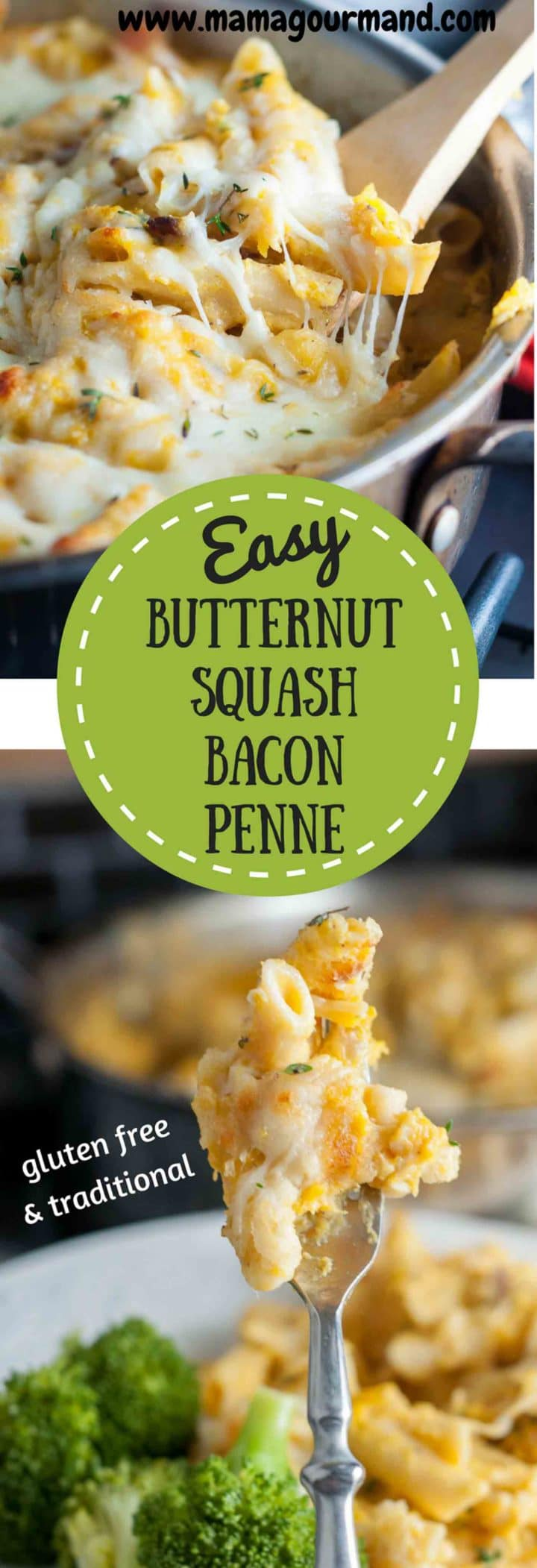 Braised Butternut Squash, Bacon Penne Bake is a creamy pasta bake tossed in a creamy butternut squash, bacon sauce. #butternutsquash #bacon #pasta #weeknightdinner #comfort food #glutenfreepasta https://www.mamagourmand.com