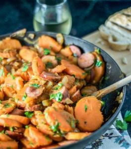 Sweet Potato, Caramelized Onion, and Sausage Goulash
