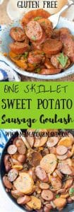 Sweet Potato, Caramelized Onion, Sausage Goulash is a healthy, delicious, comforting, gluten free dinner that is easily thrown together in one skillet. https://www.mamagourmand.com