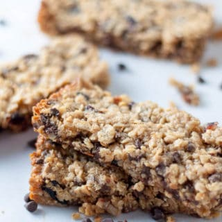Chewy Chocolate Chip Peanut Butter Granola Bars are naturally gluten free, have the essential sweet salty taste, and fuel you up. https://www.mamagourmand.com
