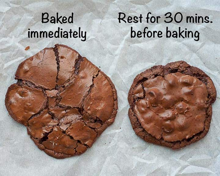 side by side comparison of cookies baked without batter resting and cookies with batter rested