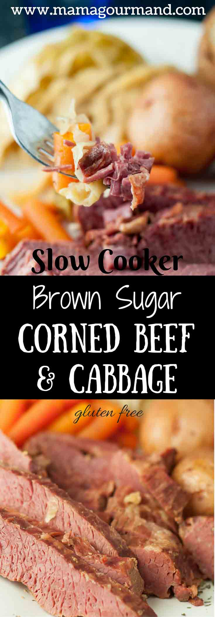 This Slow Cooker Apple and Brown Sugar Corned Beef and Cabbage cooks in apple juice, brown sugar, and spicy mustard. Not only is it the best ever corned beef and cabbage, but it takes no time or effort to throw together and it cooks by itself in the crockpot! #cornedbeefandcabbage #cornedbeef #slowcookercornebeef #stpatricksday #irishmeal https://www.mamagourmand.com