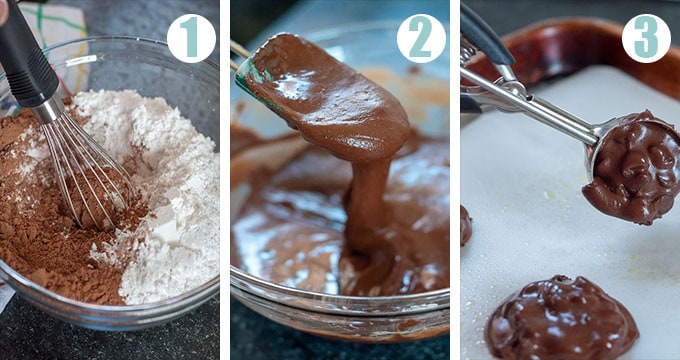 photos showing process of making flourless chocolate cookies