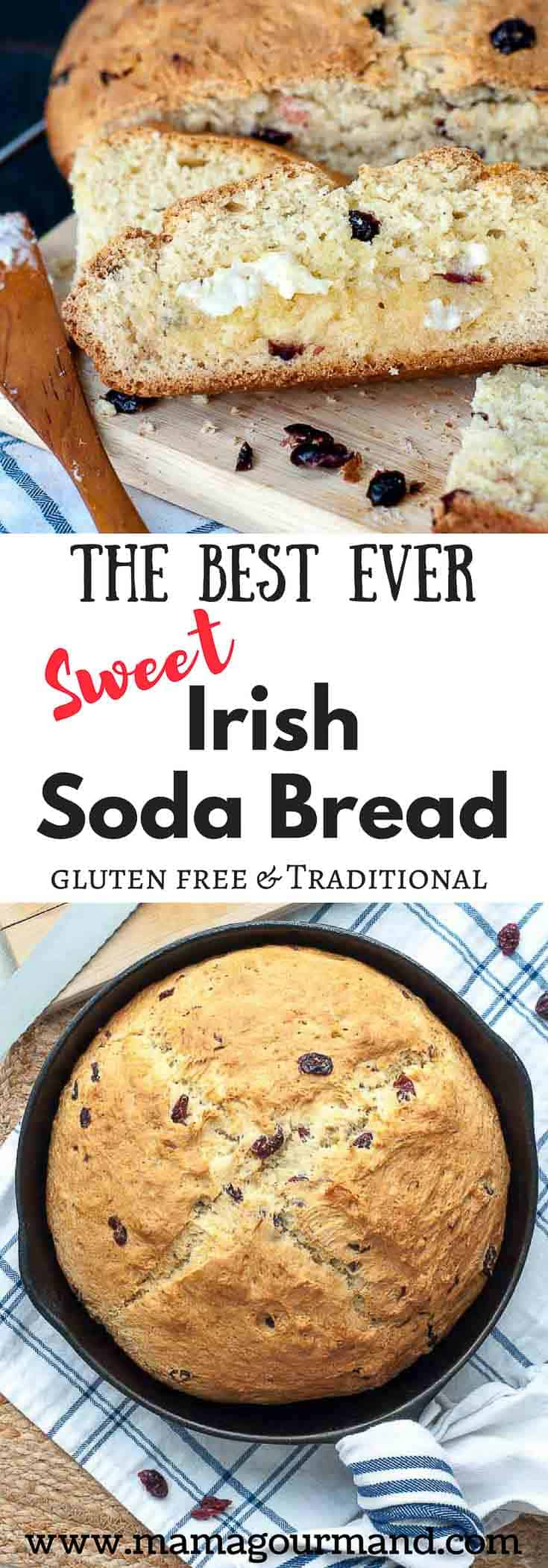 Best Ever Irish Soda Bread recipe is an absolute perfected version! It has a golden, crunchy, sweet crust with a moist, chewy interior, and tangy cranberries. #irishsodabread #sodabread #glutenfreebread #stpatricksdaymeal #stpatricksday https://www.mamagourmand.com