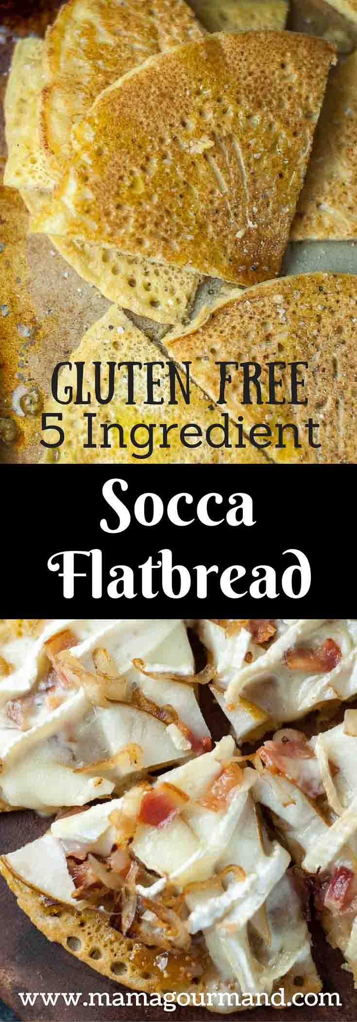Socca chickpea flatbread is a naturally gluten free, vegan bread recipe that can be used for a great tasting gluten free pizza crust. https://www.mamagourmand.com