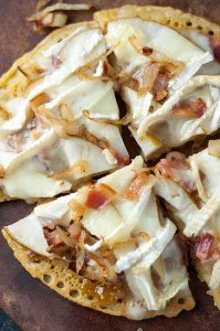 Pear, Brie, Caramelized Onion, Bacon Socca Pizza with Fig Jam