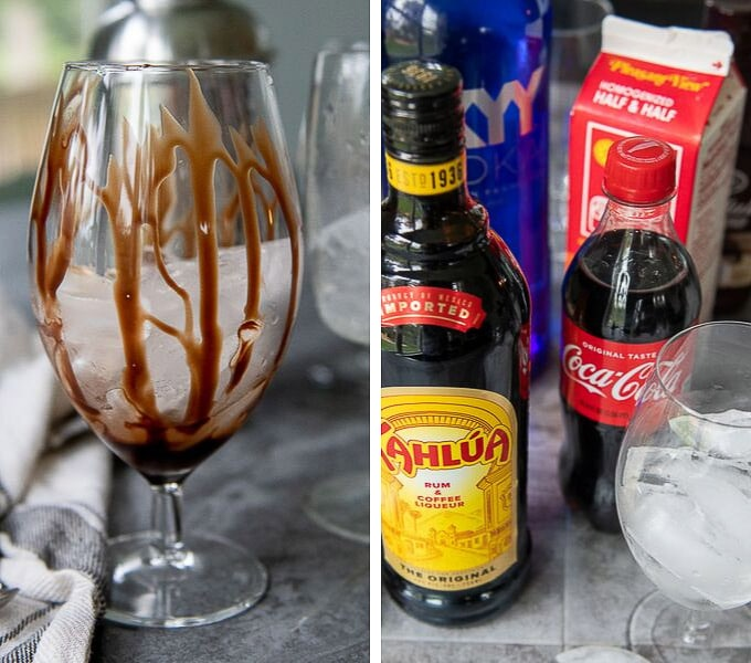 a chocolate drizzled glass and the alcohol to make a colorado bulldog cocktail