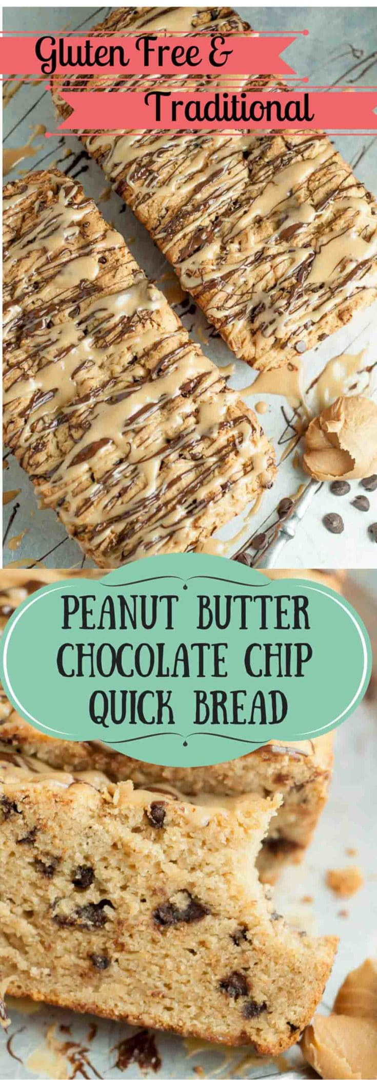 Peanut Butter Chocolate Chip Quick bread is a recipe everyone will be begging you for! This moist bread is drizzled with peanut butter and chocolate glazes. https://www.mamagourmand.com