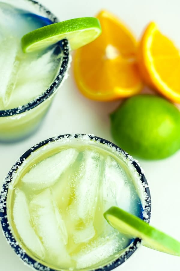an overhead shot of two glasses of skinny margarita