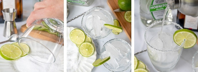images showing the steps how to make skinny margarita recipe