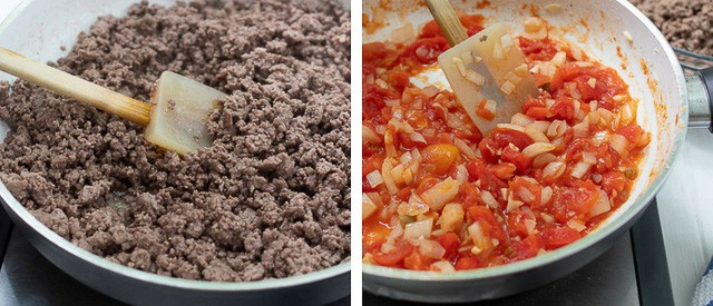 pictures showing first two steps of making sweet and spicy tacos