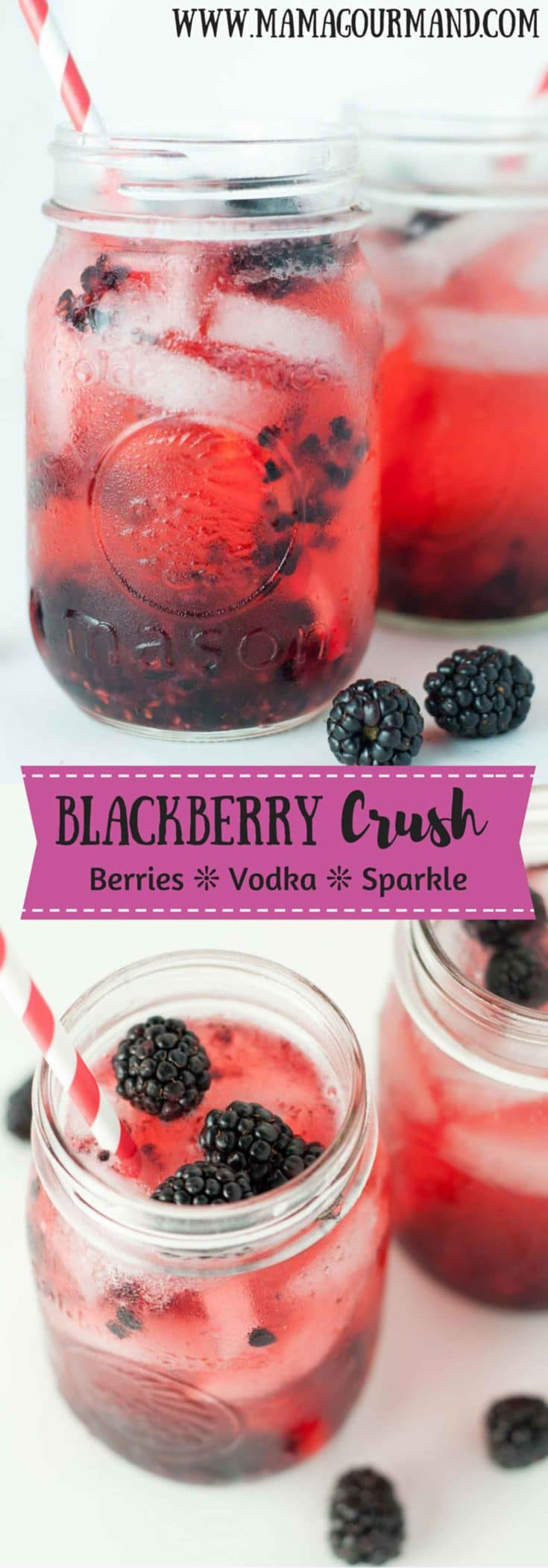 Blackberry Crush cocktail recipe combines vodka and fresh berries in a sparkling, slightly sweet and refreshing drink. https://www.mamagourmand.com