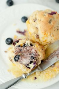 Blueberry Cheddar Sausage Muffins {with Blueberry Tea Maple Butter}