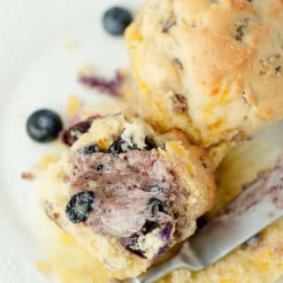 Blueberry Cheddar Sausage Muffins with a Blueberry Tea Maple Butter are a whole, delicious breakfast wrapped in one fantastic muffin recipe. https://www.mamagourmand.com