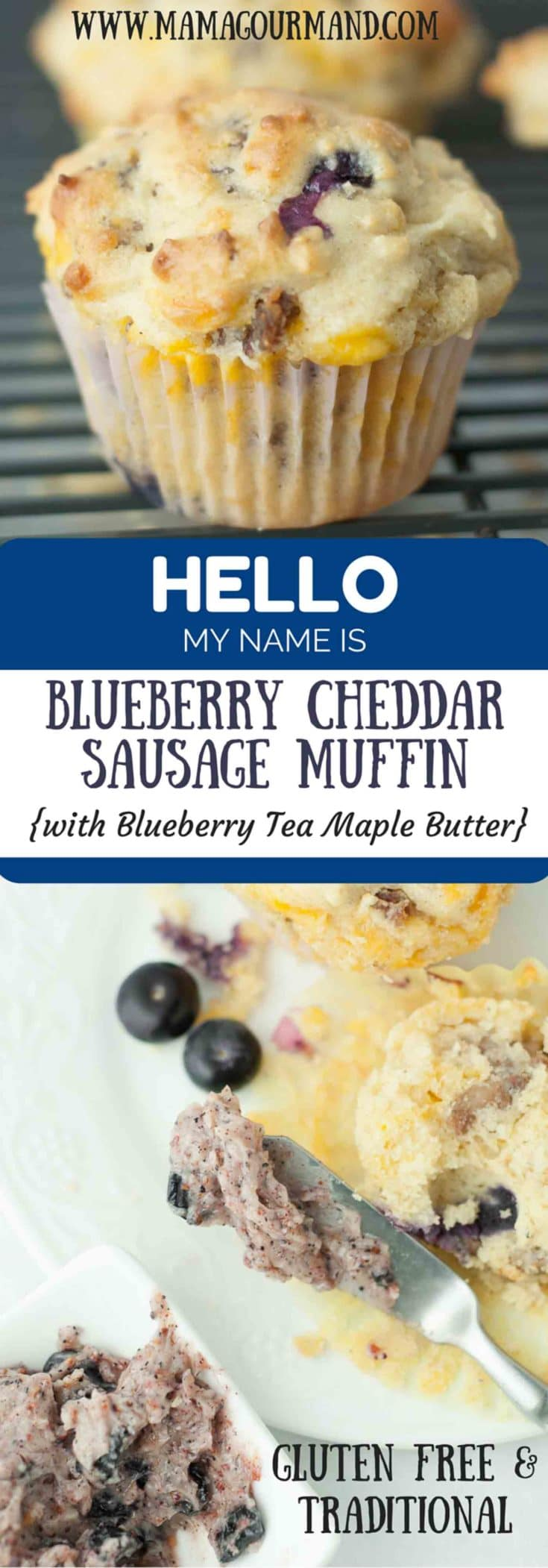 Blueberry Cheddar Sausage Muffins are a whole breakfast wrapped in one fantastic muffin recipe. The Blueberry Tea Maple Butter recipe also included is absolutely amazing spread on these warm, soft muffins. https://www.mamagourmand.com