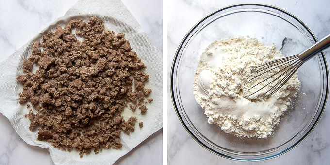 images of browned sausage on a plate and flour ingredients in a bowl