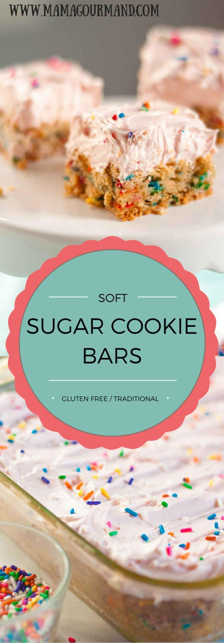 This soft sugar cookie bar recipe is a dessert lover's dream come true. They are hands down the best bar cookie recipe out there, and everyone will be begging you for the recipe. https://www.mamagourmand.com