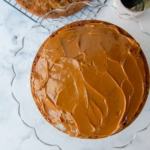 caramel spread over one cake layer