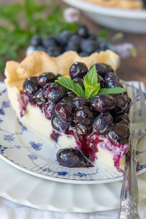 close up of fresh blueberry pie with a small bowl of fresh blueberries in background