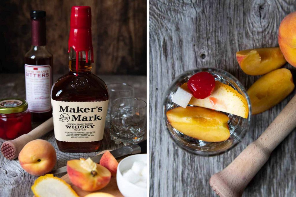 images showing ingredients and how to make a peach old fashioned