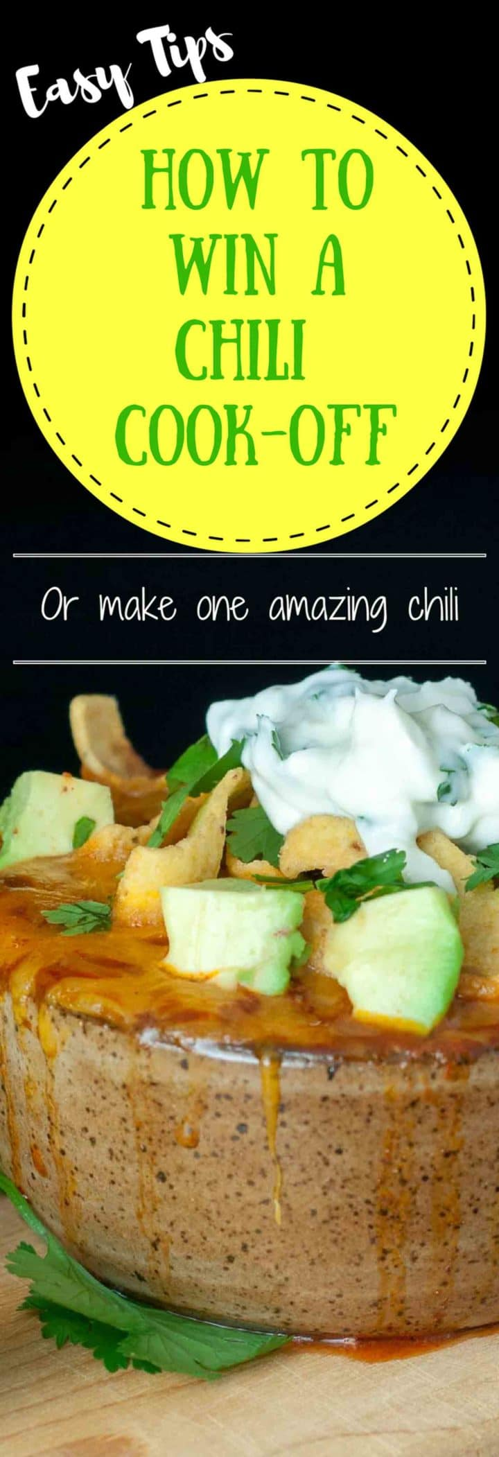 A Chorizo Chicken Chili with Lime Cilantro Sour Cream recipe and tons of useful tips on how to win a chili cook-off or just make an extraordinary chili https://www.mamagourmand.com