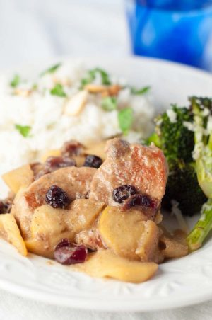 Cranberry Apple Skillet Pork Medallions makes a deliciously easy, gluten free weeknight dinner. You can whip it up and be enjoying it in no time. https://www.mamagourmand.com