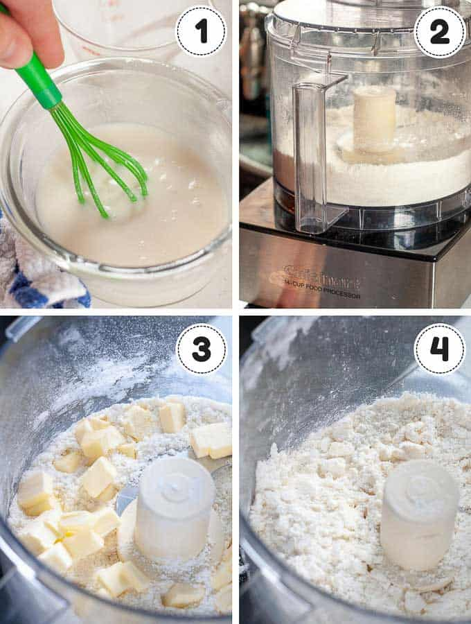 photo grid showing the first 4 steps of making gluten free pie crust