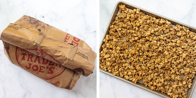 steps showing how to make caramel corn in the microwave