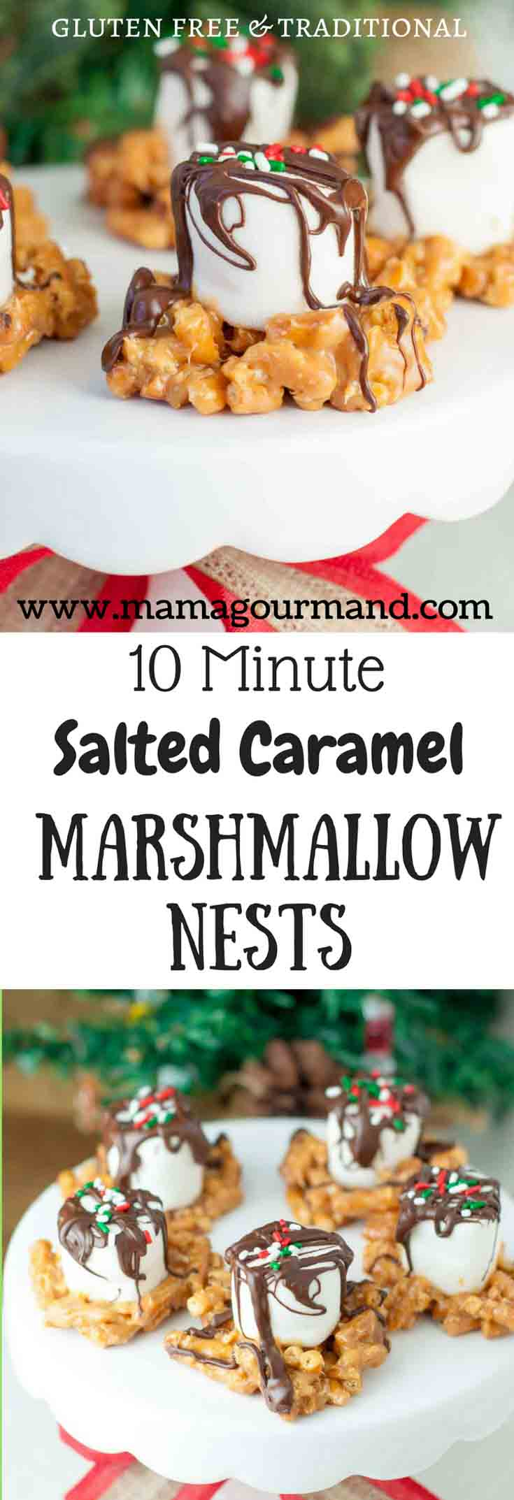 Salted Caramel Marshmallow Nests are a quick, easy holiday treat. They can be adapted for gluten free and are perfect for holiday baking with kids! #holidaybaking #saltedcaramel #glutenfreechristmas #saltysweet https://www.mamagourmand.com
