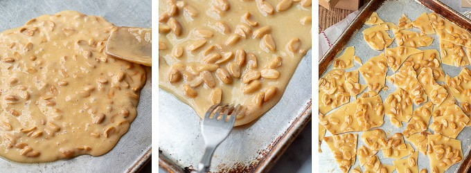 shots showing process of how to make peanut brittle