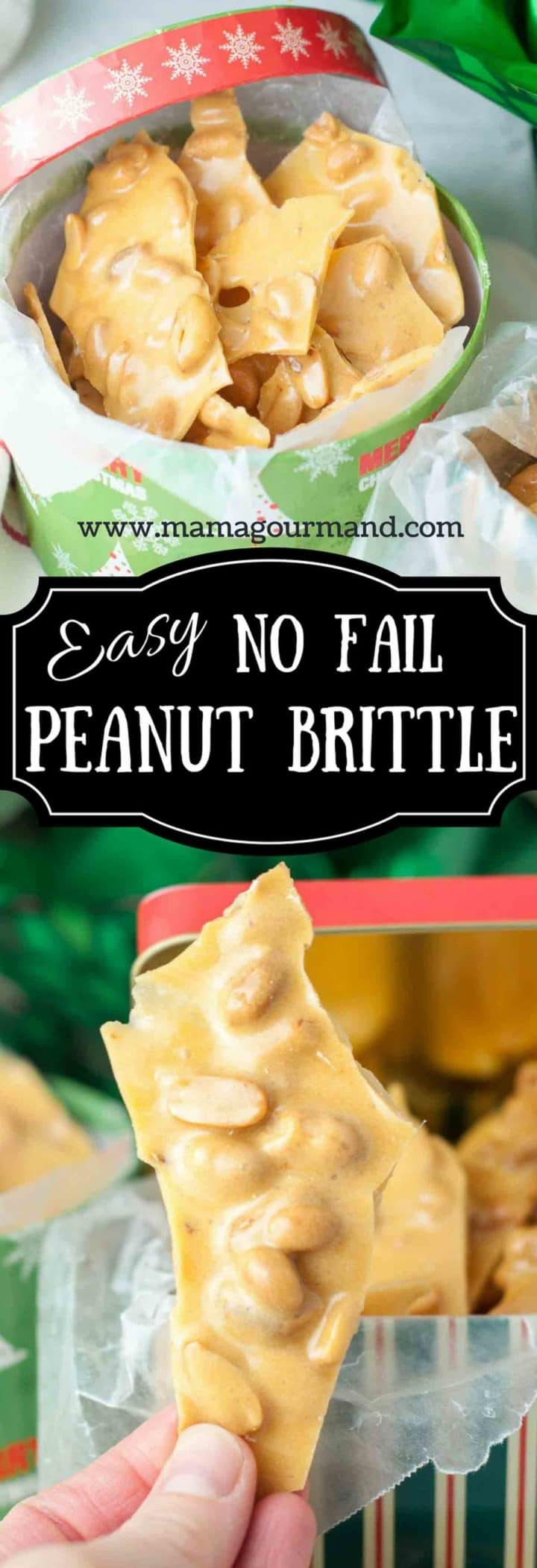 No Fail Peanut Brittle is an easy homemade snack that also makes the perfect holiday gift. https://www.mamagourmand.com