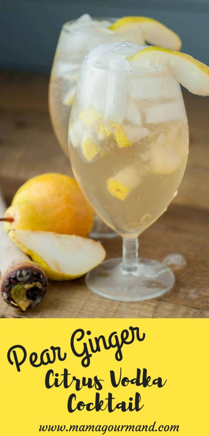 Pear Ginger Vodka Cocktail is a perfect combination of citrus vodka, muddled pears, ginger simple syrup, and sparkling ginger ale. https://www.mamagourmand.com