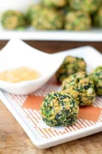 Gluten Free Spinach Balls with Hot Sweet Mustard