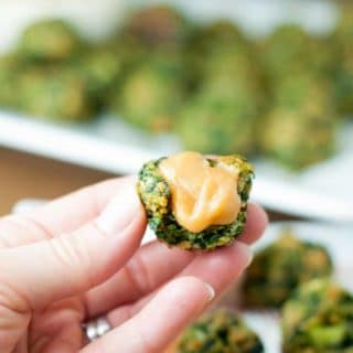 These Gluten Free Spinach Balls with How Sweet Mustard taste EXACTLY like the classic version and are the perfect gluten free appetizer everyone can enjoy. https://www.mamagourmand.com