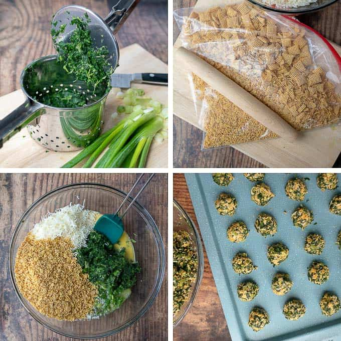 process shots showing steps of making spinach balls