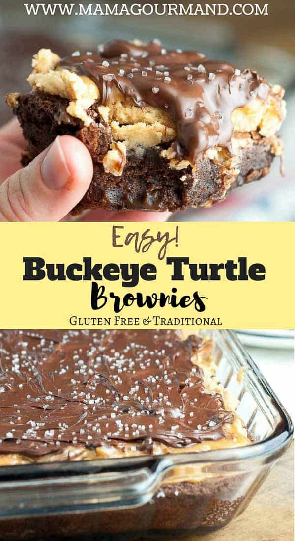 Buckeye Turtle Brownies has a layer of fudgy brownies, creamy peanut butter topping, a caramel, pecan turtle topping, and is all drizzled with chocolate. This easy brownie recipe is perfect to bring to parties, for special occasions, or when you really need a to-die-for recipe. #buckeye #brownies #turtle #mamagourmand https://www.mamagourmand.com