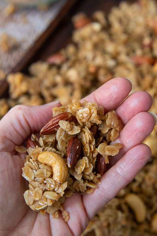 a hand holding up granola clusters