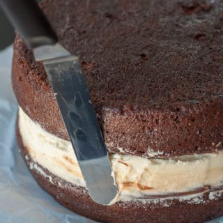 image showing how to smooth filling in ding dong cake