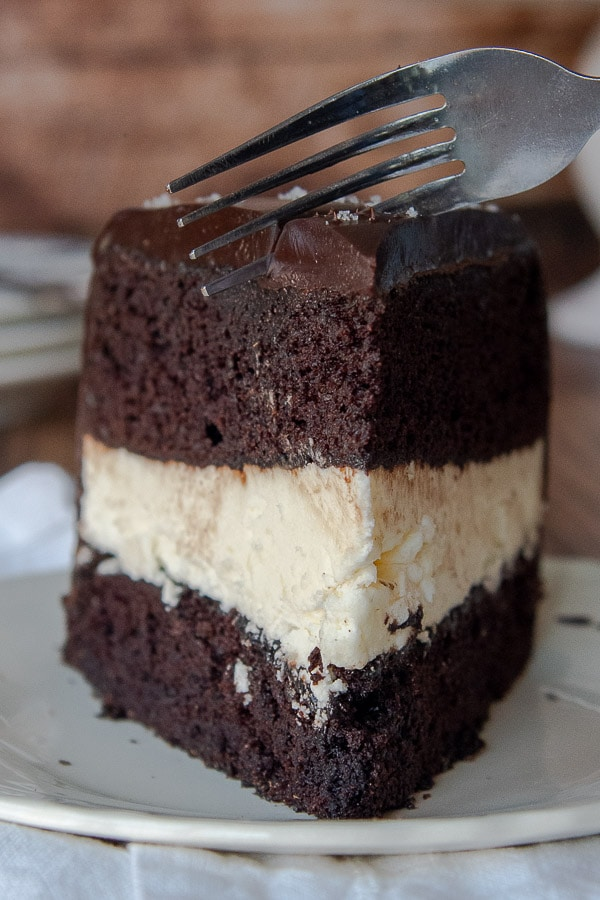 a fork going into a standing up piece of ding dong cake