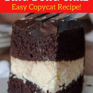 pinterest pin for easy ding dong cake recipe