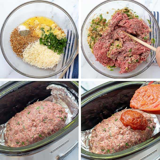 step by step images showing how to make Italian meatloaf