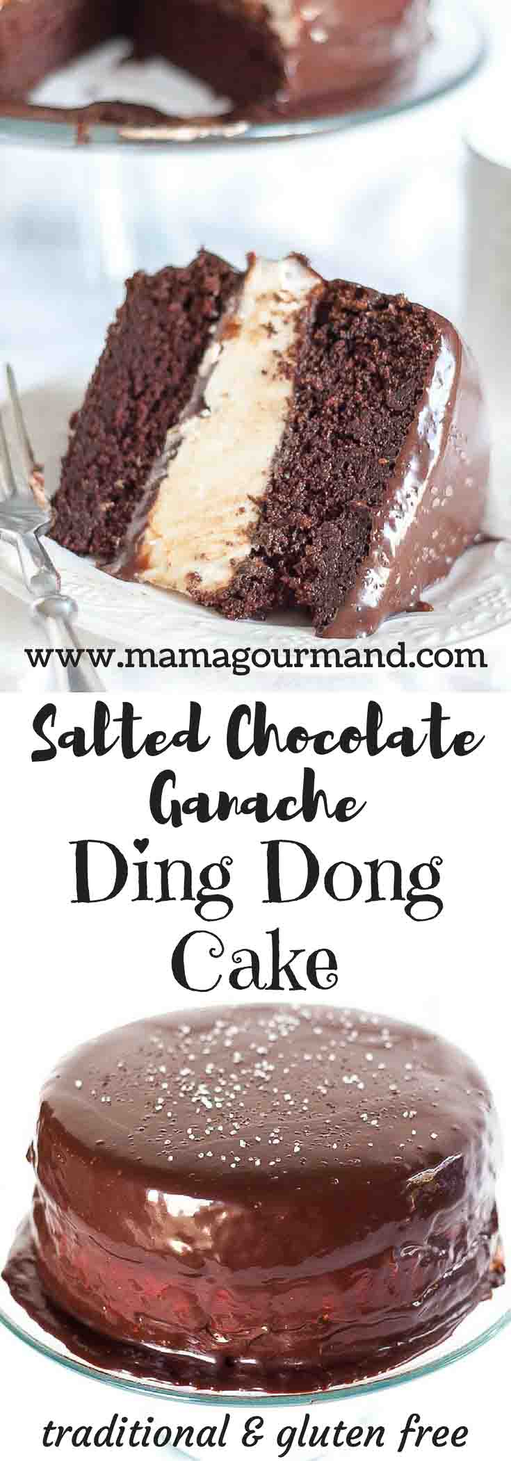 A super sized Ding Dong Cake at it's best! Salted Chocolate Ganache Ding Dong Cake has moist chocolate cake, light and fluffy filling, and salted ganache. https://www.mamagourmand.com