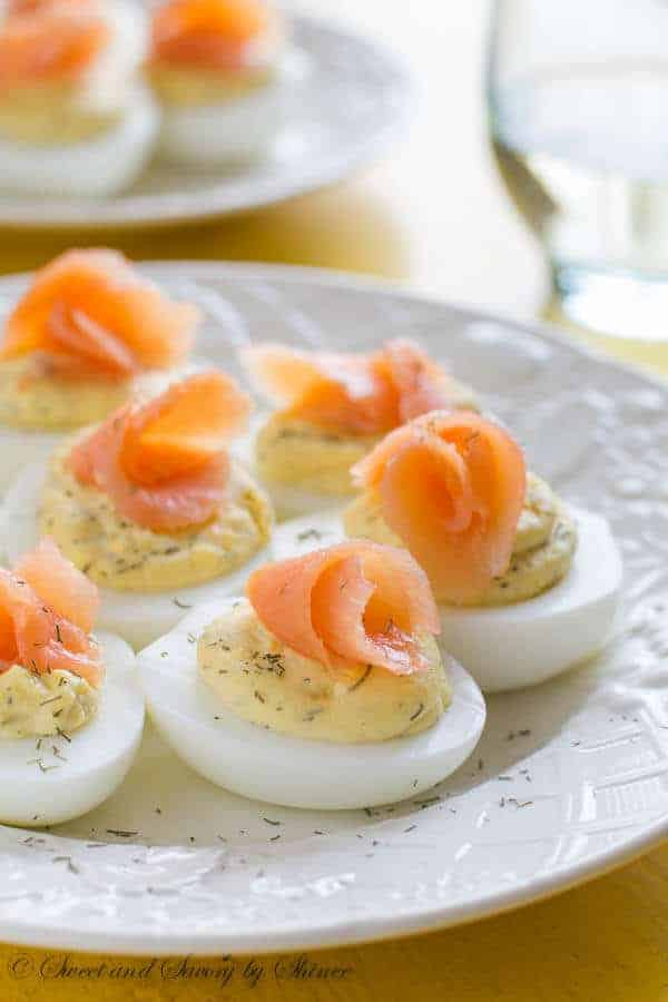 a photo of smoked salmon deviled eggs to serve with ham dinner