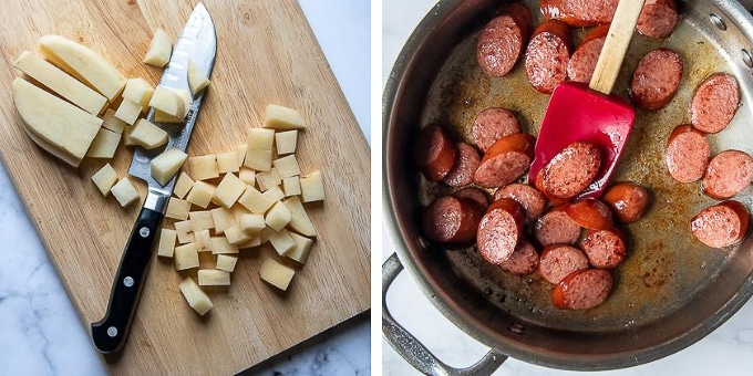 images showing how to make smoked sausage skillet dinner