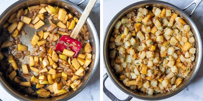 images showing how to make potato hash to go with sausages