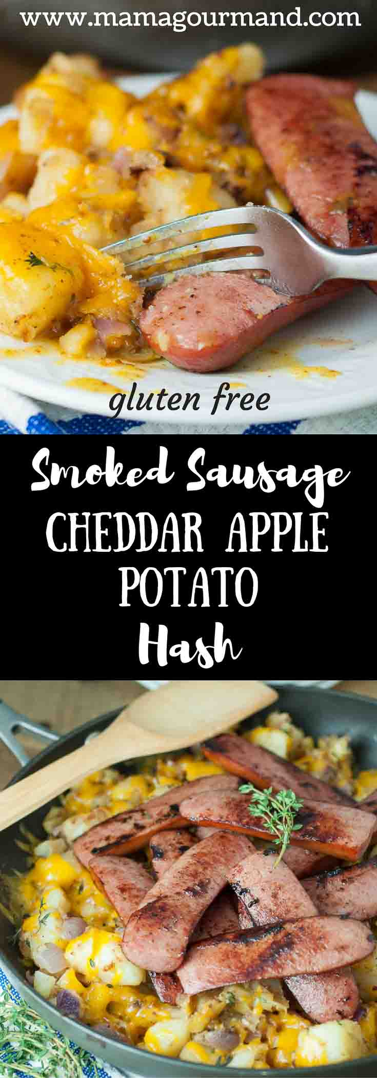 Smoked Sausage with Cheddar Apple Potato Hash is an easy skillet meal your family will love. Smoked sausage on a bed of apple, potato hash with cheddar on top. Yummy! https://www.mamagourmand.com