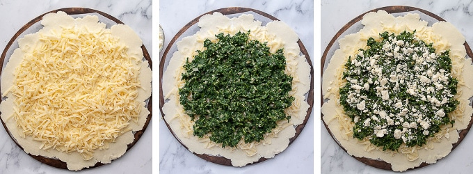 images showing how to make and assemble vegetable tart