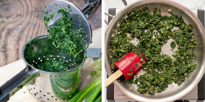 images showing how to squeeze spinach dry with potato ricer and saute filling for vegetable tart