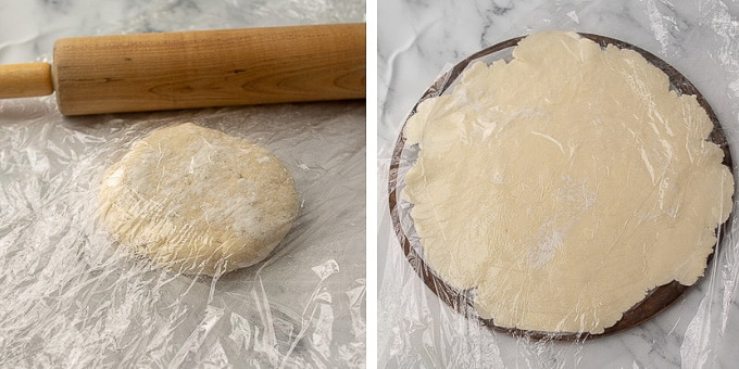 images showing how to roll out pastry crust for vegetable tart