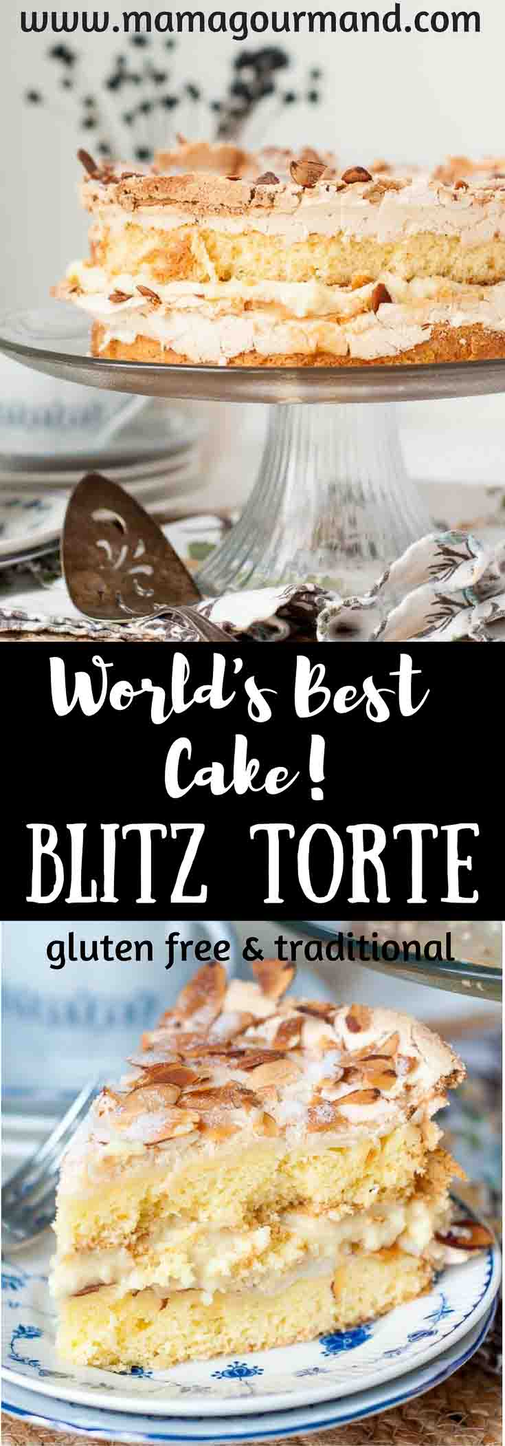 World's Best Blitz Torte is an explosion of textures and tastes with a crunchy, crackling top, chewy, dense cake and a creamy, custard vanilla filling. https://www.mamagourmand.com